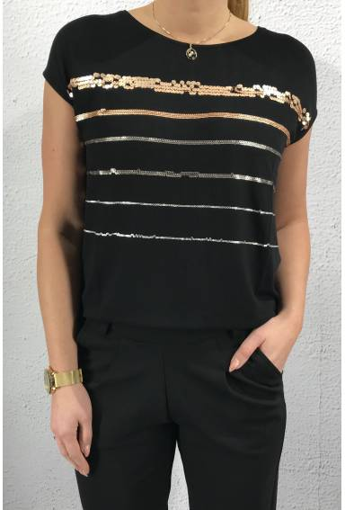 Top stripes/sequins Black