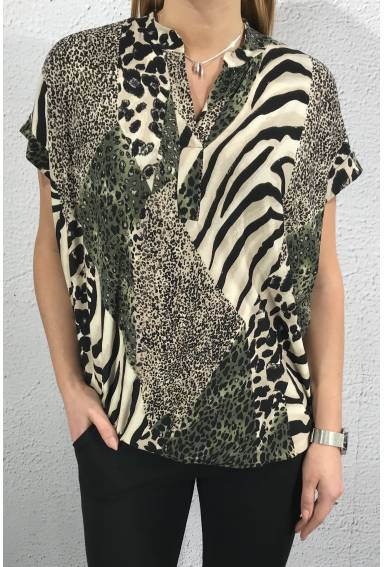 19242 Top/blouse Animal print sand/khaki