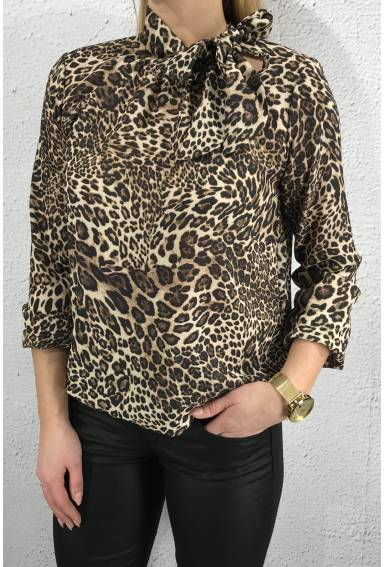 Blouse print Leo Brown/taupe