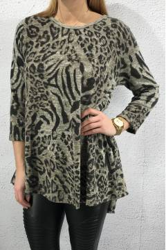 Sweater leoprint Taupe