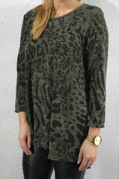 Sweater leoprint khaki