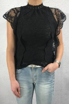 1021 Blouse lace Black