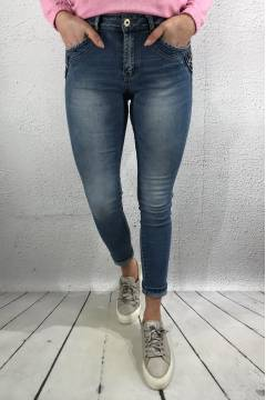 JW 91098 Jeans double bling pocket Denim