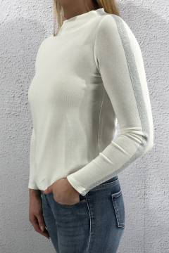 Sweater knit stripe offwhite