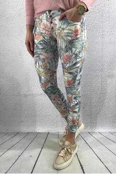 9089 Pants patterned White/Flower