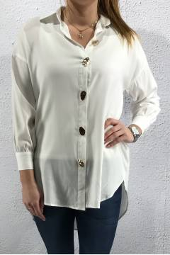 2025 Blouse gpld buttons White