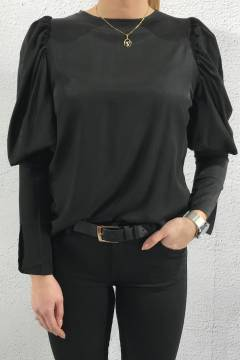 5661 Blouse puff sleaves Black