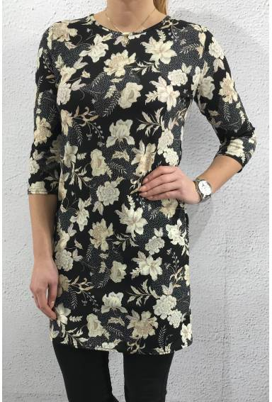 Gexi-41 Dress Black Flower