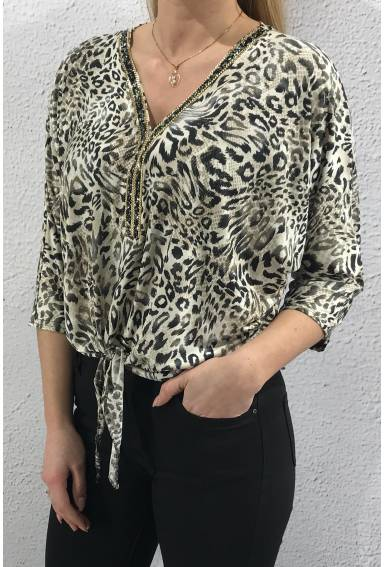 40002 Top bling tie Leoprint