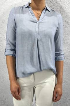 QR Blouse Honey chambray Light Blue