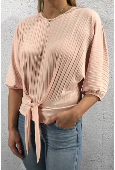6008 Top pleated with tie Pink