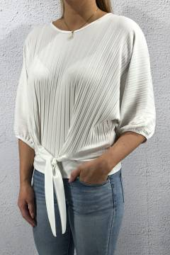 6008 Top pleated with tie White