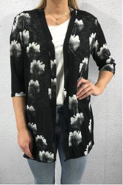 63006 Cardigan Flower Black