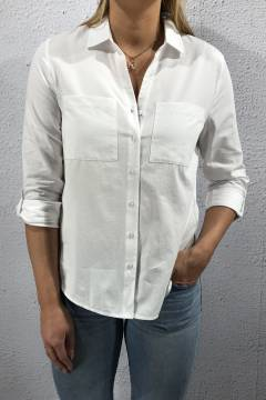 Shirtcollar Blouse chestpocket White