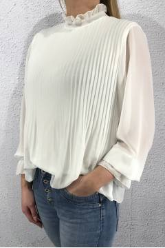 2603 Blouse l/s pleated White