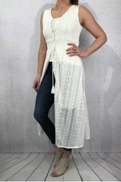 63016  Dress/ Kaftan Lace off white