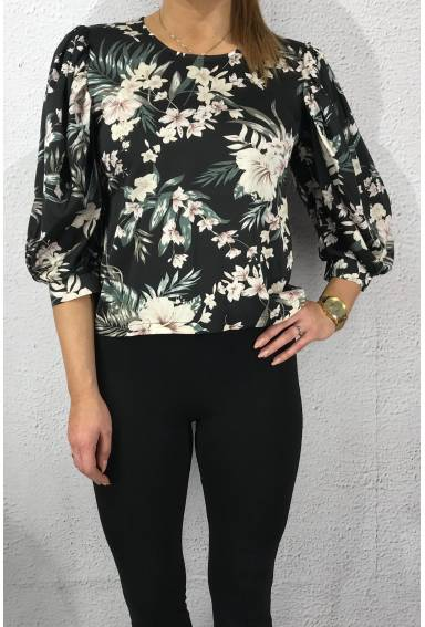 Gidy Blouse Black/Flower