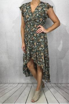 817 Dress printed Khaki/Beige