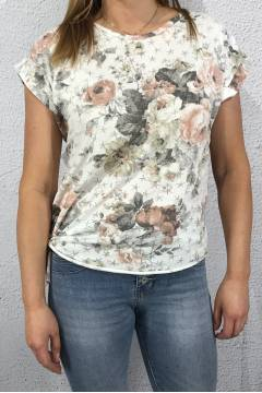 1325 T-shirt knot flowerprint White/Rose
