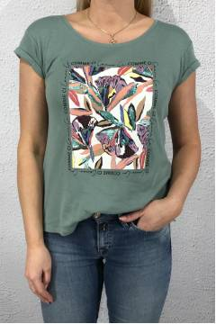 T-shirt Flower partprint Thyme jade
