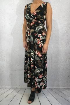 603-2 Maxidress print Black/Flower