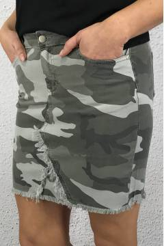 RD55675 Denimskirt with raw edges Camo