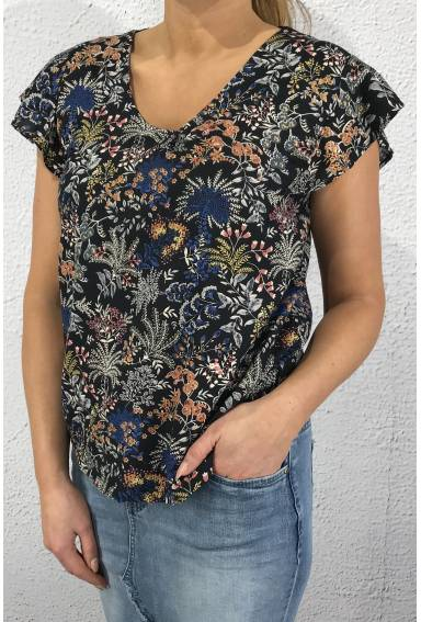 Top/Blouse flowerprint Night Blue