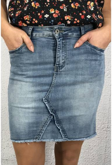 RD5567  Denimskirt with raw edges Li.Blue