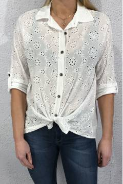 9653 Blouse laceprint White