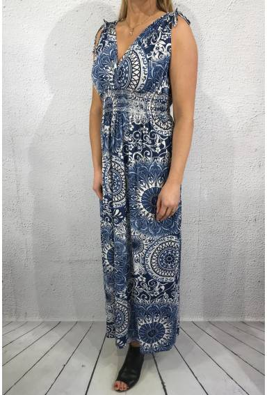 1933-m Maxidress cirkelprint Blue