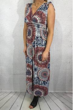 1933-m Maxidress cirkelprint Bordeux