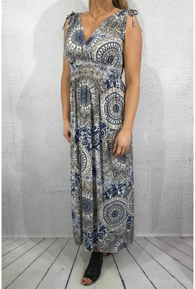 1933-m Maxidress cirkelprint Sand/Blue