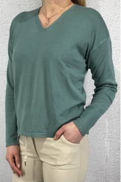 Sweater v-neck fine knit Thyme Jade