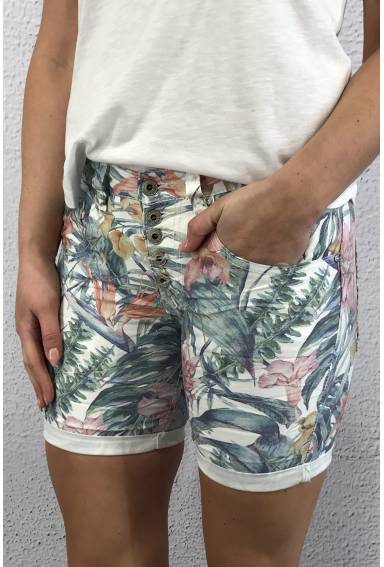 Shorts 1239 White/Flowerprint
