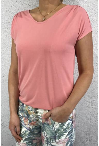Top v-neck silklook jersey Blomming Peach