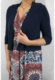 Short jacket silk look jersey deep Blue
