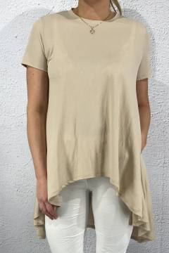 63014 Top high low beige