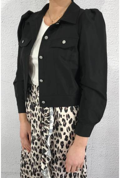 1064 Jacket with puff sleaves Black