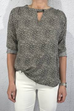 550 Blouse leoprint Black/Beige