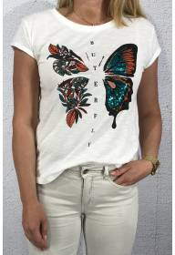 T-shirt butterfly sequins White