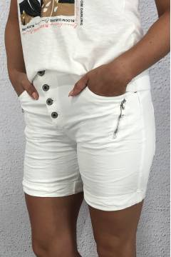 S 18216 Shorts zip White