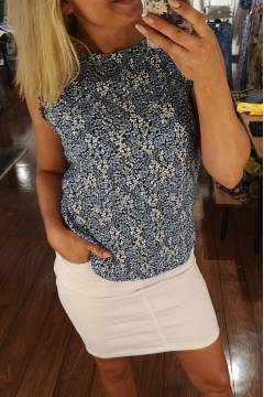 Top lace print Blue