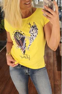 T-shirt Heart bloom yellow