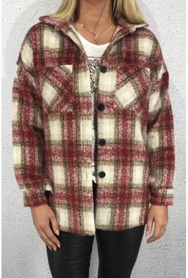 Shirt jacket checkered Wine