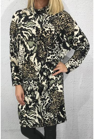 Tunic polo Leoprint Black/Khaki Sand