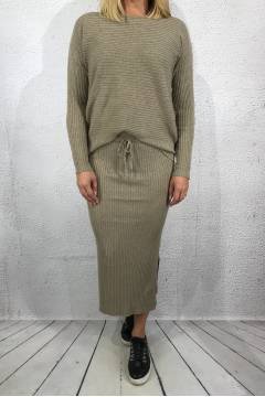 2020 Knitted set Sweater/Skirt Taupe