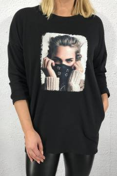 Sweatshirt Face Black