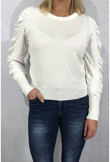 Sweater with frill Creme
