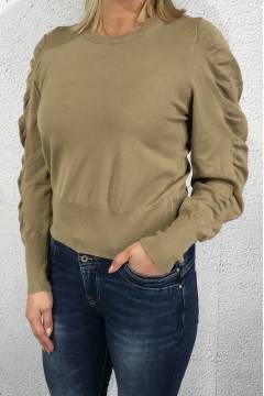 Sweater with frill Camel