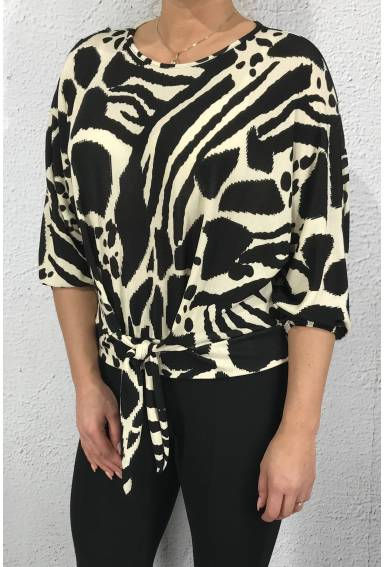 Zoey Top animal  with knot Black/Creme